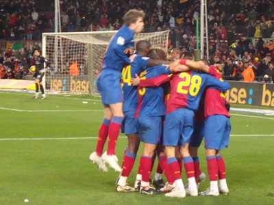 Barcelona celebrate Messi's first goal