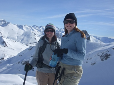 Kerry and Anna snowshoeing