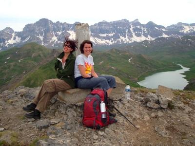 Jenny & Caroline on the summit of Punta del Pacino