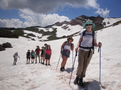 Crossing a snowfield heading up to Pico Anayet