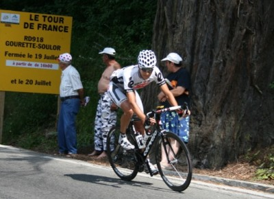 One of the leading riders on the descent