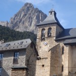 The church in the village of Sallent de Gallego, one of the villages you visit, with Peña Forata in the background.