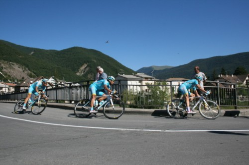 The Astana team heading up the peleton