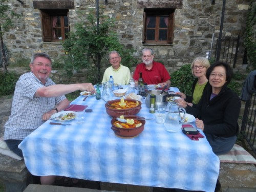 Paul, Robert, Joe, Barbara and Madeline enjoying an evening meal in Bestue