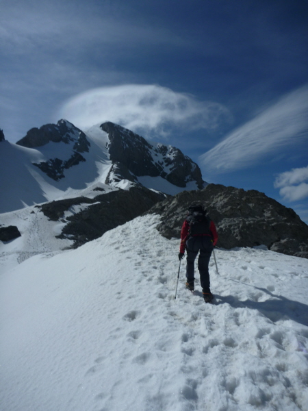 On the final ascent of Monte Perdido - the route leads up the snow ramp