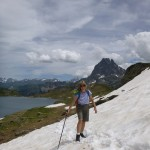 Ruth with the spectacular Pic Midi d'Ossau behind