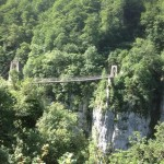The suspension bridge we crossed over the Olhadubi gorge