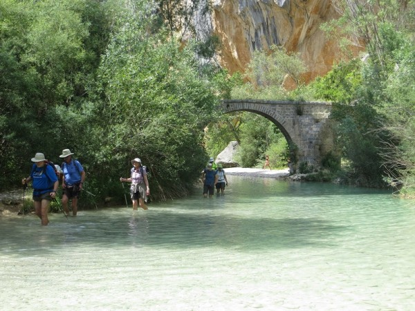 Hiking in Alquezar where the final 800m is in a beautifully cool and welcome river!