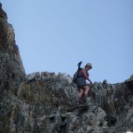 Liz scrambling up to Col. de Teberrai