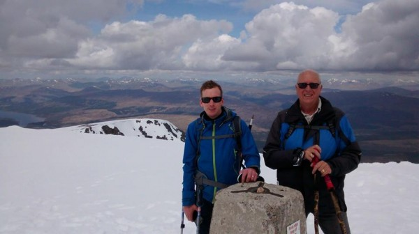 Mike and Andrew standing proudly on the summit of Ben Nevis