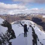 Fran on the classic 'Dorsal Arete' in Glen Coe