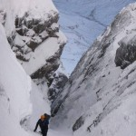 Simon being guided up 'Number 2 gully' on Ben Nevis