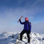Louise at the summit of Stob Coire Raineach