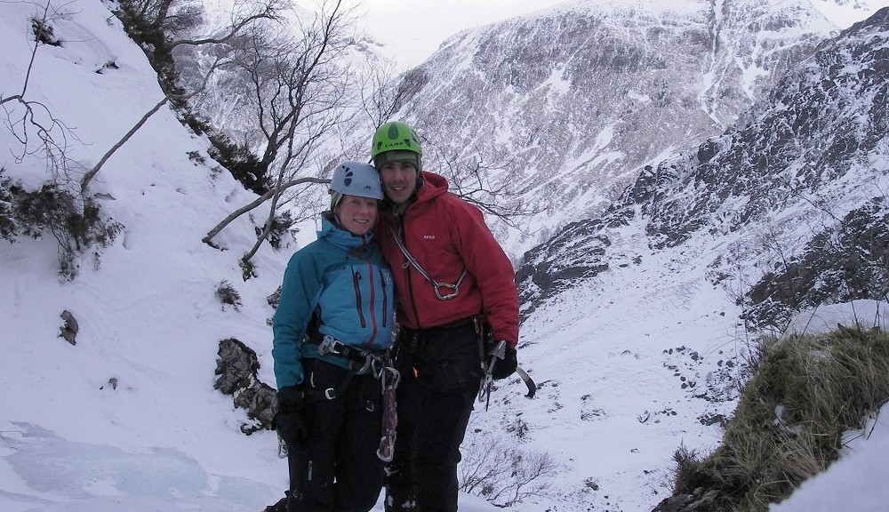 Hannah and Ken at the top of an ice climb called 'Steall Falls' - Scotland