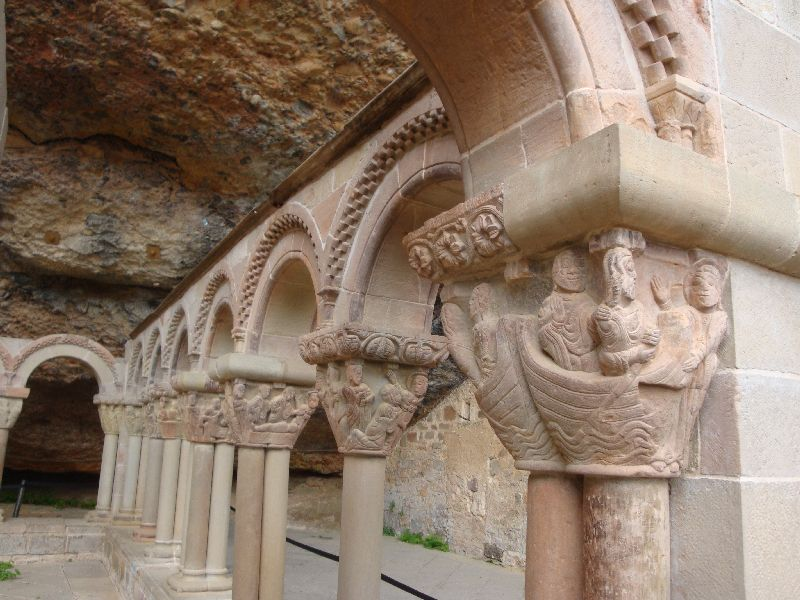 In the Cloister, the capitals above each pillar tell the bible story from Adam and Eve to the resurrection of Christ.