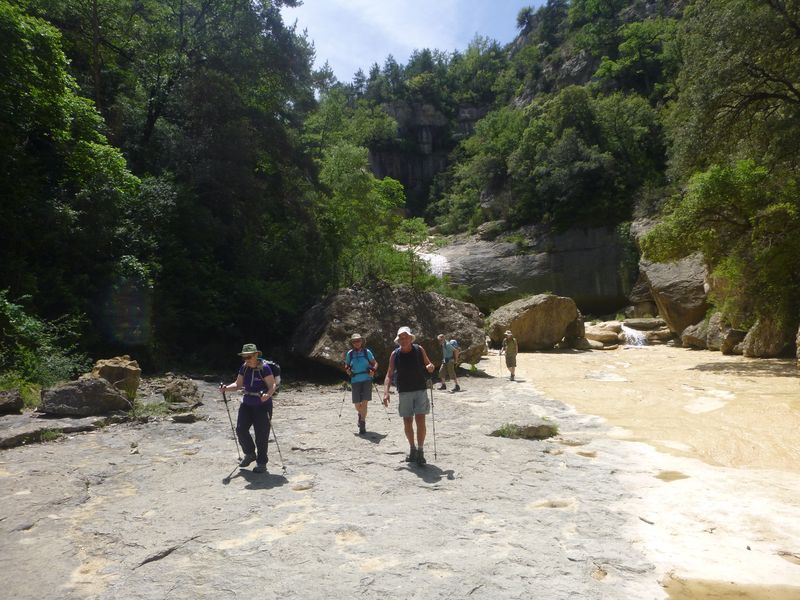 Walking along the dry river bed to our swimming hole in the Valle de Sieste