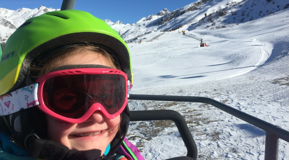 Family skiing in the Pyrenees