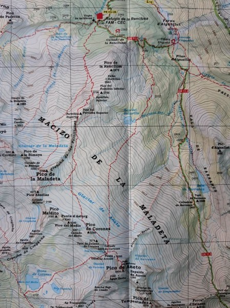 The route on the Editorial Alpina map (image copy right Editorial Alpina).