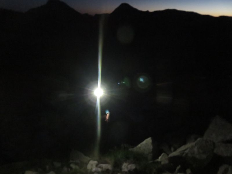 Early morning - about 40 minutes into the ascent - finding the vague footpath is not easy in the dark