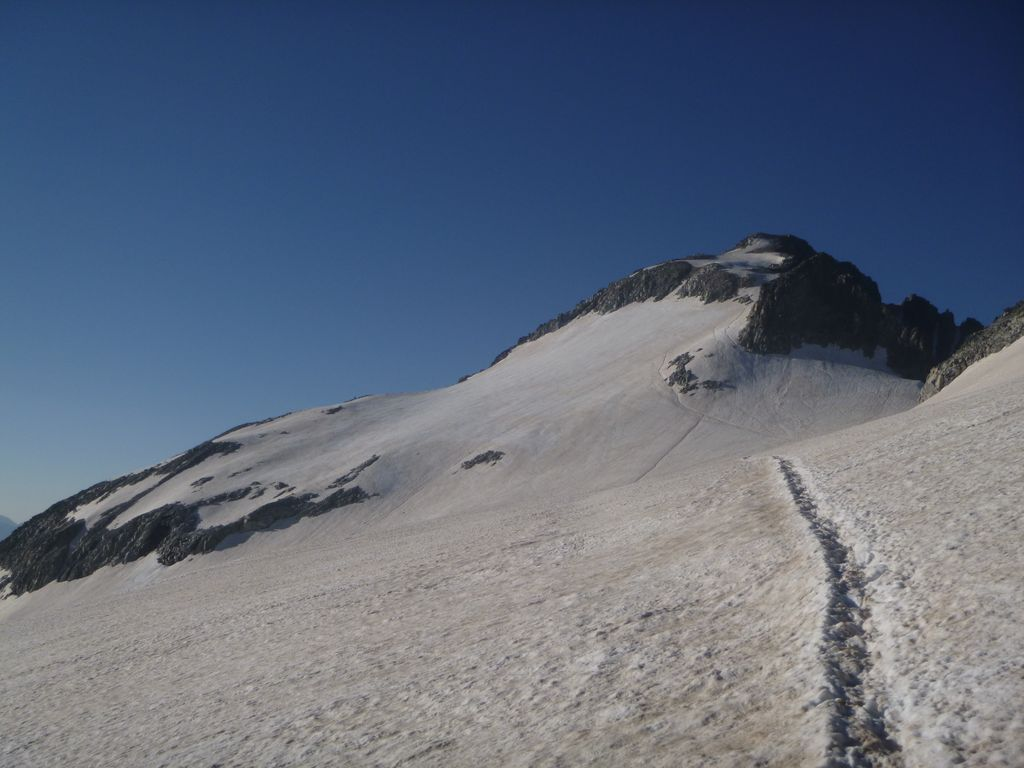 Crossing the Aneto Glacier with Aneto on the horizon