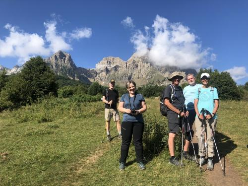 The intrepid hikers with the cliffs of the Sierra de Partacua behind