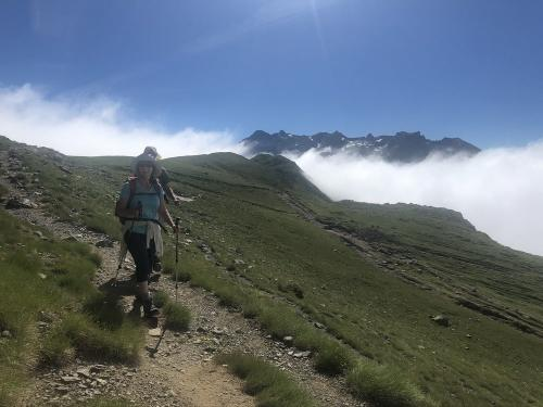 Hiking out of the mist in the Pyrenees