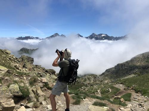 Taking photos from the summit of Pic Peyreget