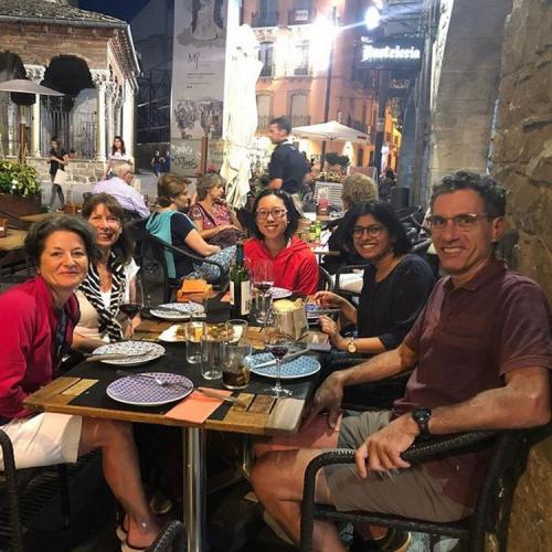 Enjoying the vino and the tapas in Jaca
